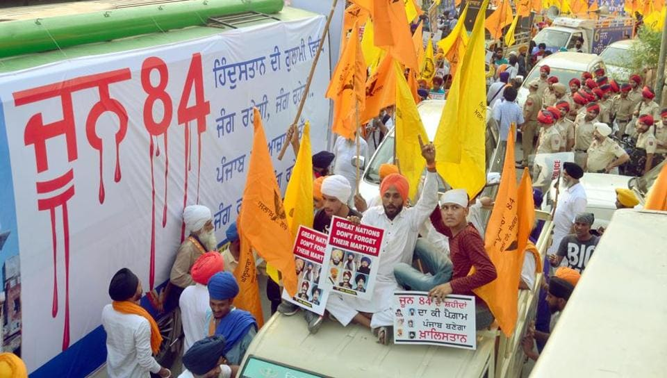 Dal Khalsa activists take out protest march on the eve of Operation Bluestar anniversary in Amritsar on Tuesday.