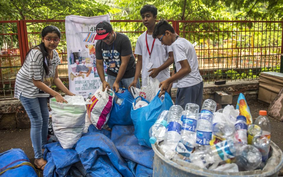 On World Environment Day, the teenagers visited 15 housing societies and shops in the are to collect plastic waste.