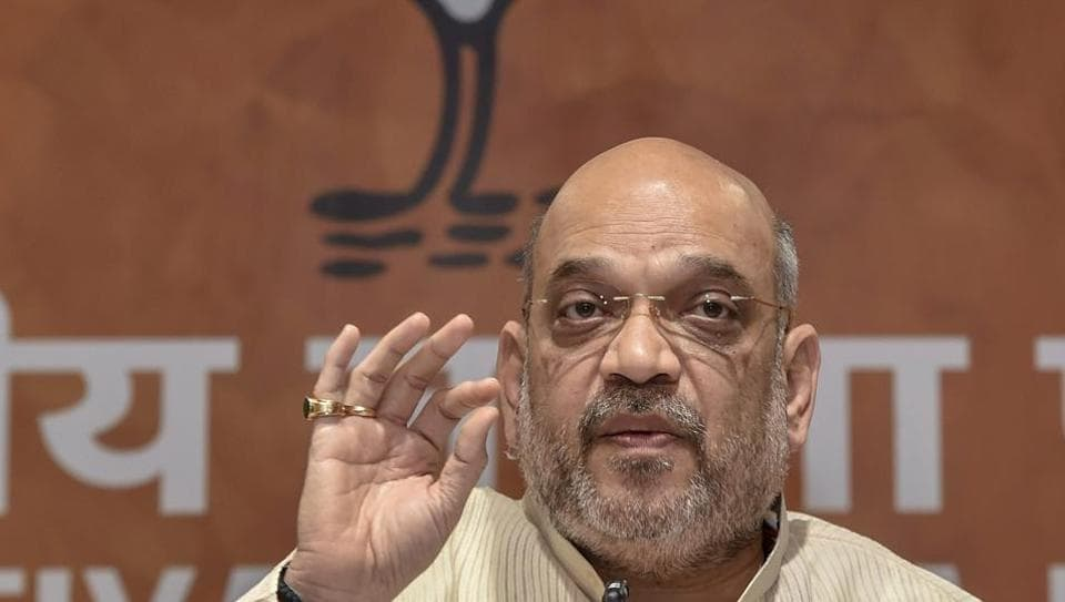 BJP national president Amit Shah addressing a press conference at BJP headquarters, in New Delhi.
