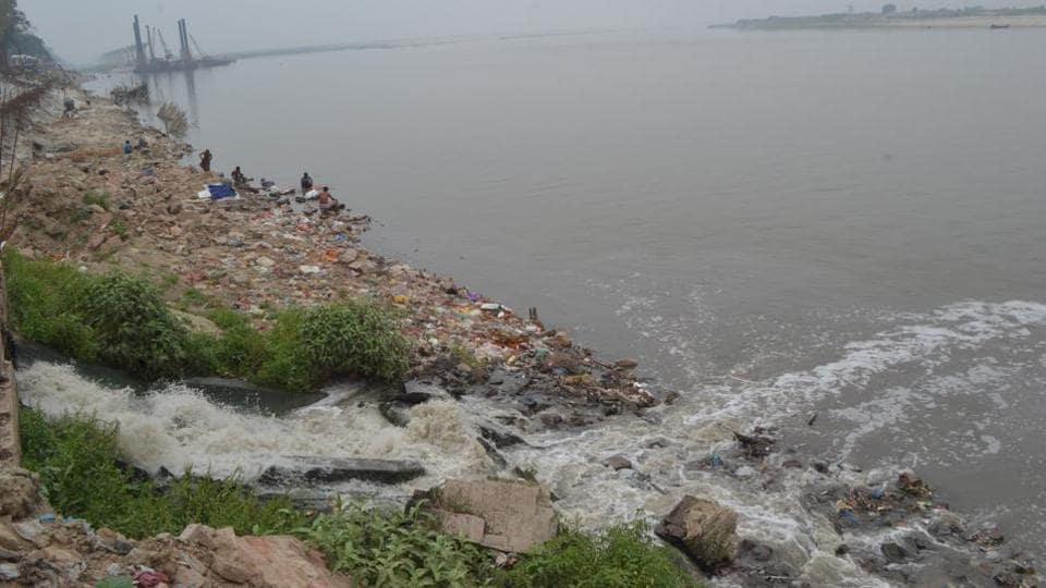 Dirty sewerage water flowing into the Ganga in Bihar.