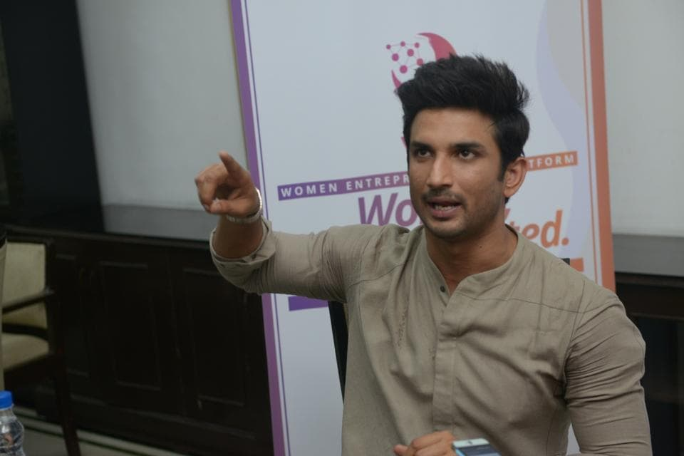 Sushant Singh Rajput addresses during a programme organised to promote the Women Entreprenuership Platform (WEP) of NITI Aayog in New Delhi.