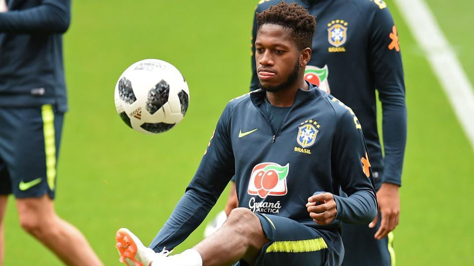Brazil's midfielder Fred takes part in a training session at Anfield stadium in Liverpool.