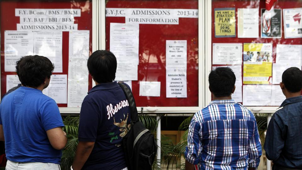 Students go through a notice board, KC College, Mumbai (File Photo)