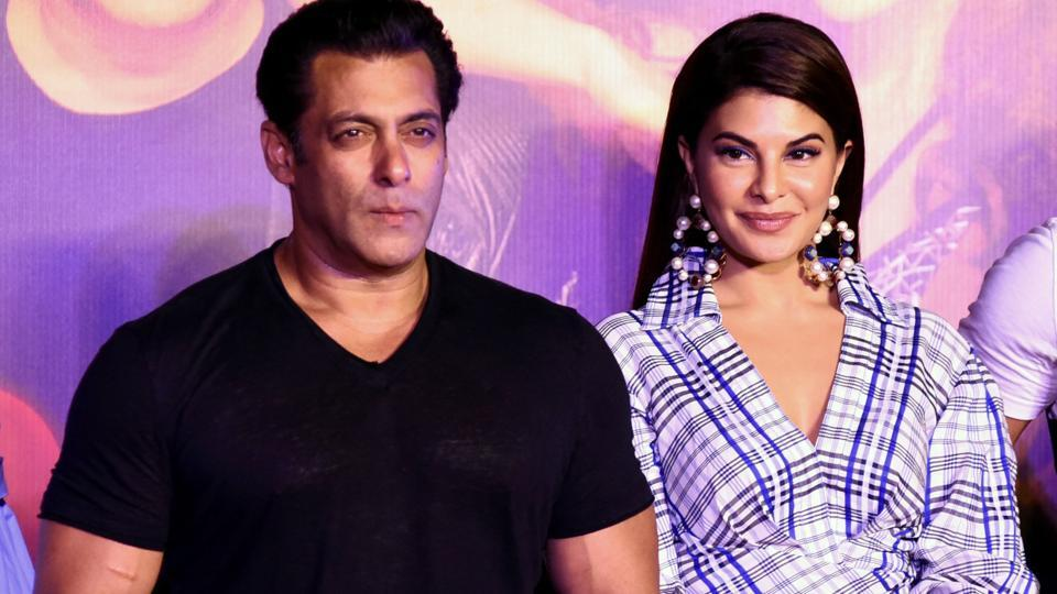 Salman Khan, Jacqueline Fernandez pose for a picture during the music launch of the upcoming action thriller Hindi film Race 3 in Mumbai.
