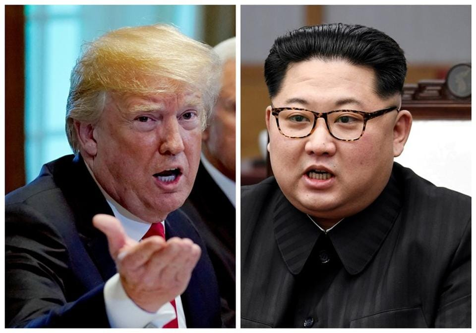 A combination photo of US President Donald Trump and North Korea leader Kim Jong Un.