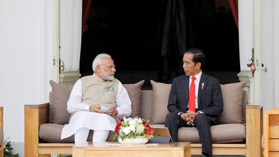Prime Minister Narendra Modi and Indonesia President Joko Widodo at the presidential palace, Jakarta, Indonesia, May 30, 2018