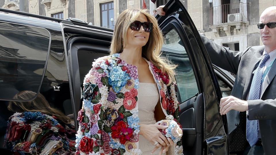 US first lady Melania Trump steps out of a car as she arrives at Chierici Palace, part of a visit of the G7 first ladies in Catania, Italy. Melania Trump won't be joining her husband at the 2018 G7 summit in Quebec or accompanying him to the meeting planned with North Korea's leader in Singapore following the G7.