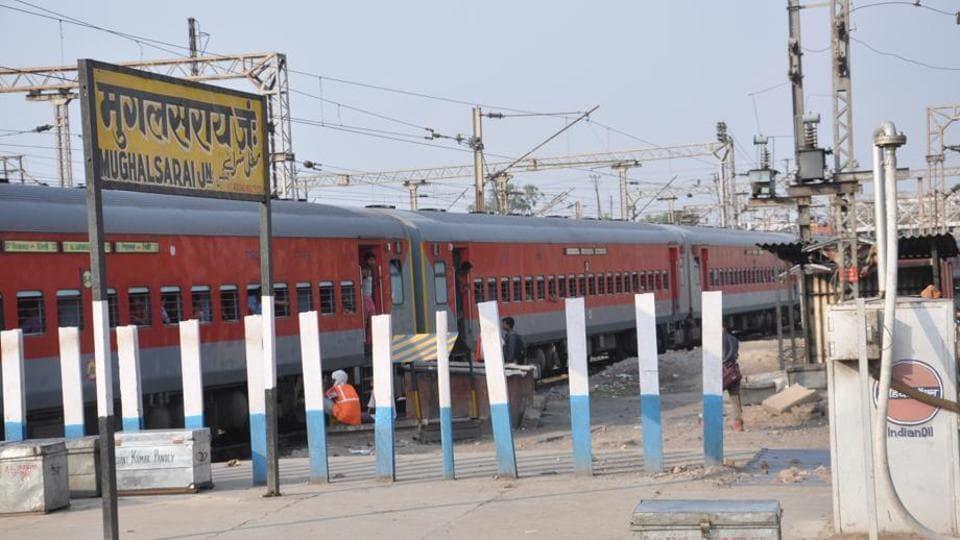 Sign at platform number 2 of Mughalsarai junction.
