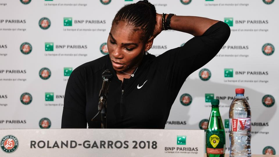 Serena Williams gives a press conference as she announces her withdrawal from the French Open through injury, at Rolland Garros tennis complex in Paris on June 4, 2018.
