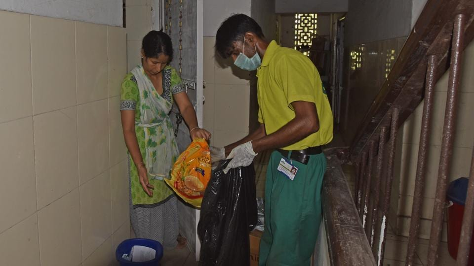 In the absence of proper segregation of waste inside homes, the danger from hazardous plastics falls on the trash collectors, most of whom are poorly paid. M Khokhan Hamid, 39, hasn't told his children what he does for a living. Shame keeps Hamid from telling them that every day he goes door-to-door collecting garbage. (Anushree Fadnavis / HT Photo)