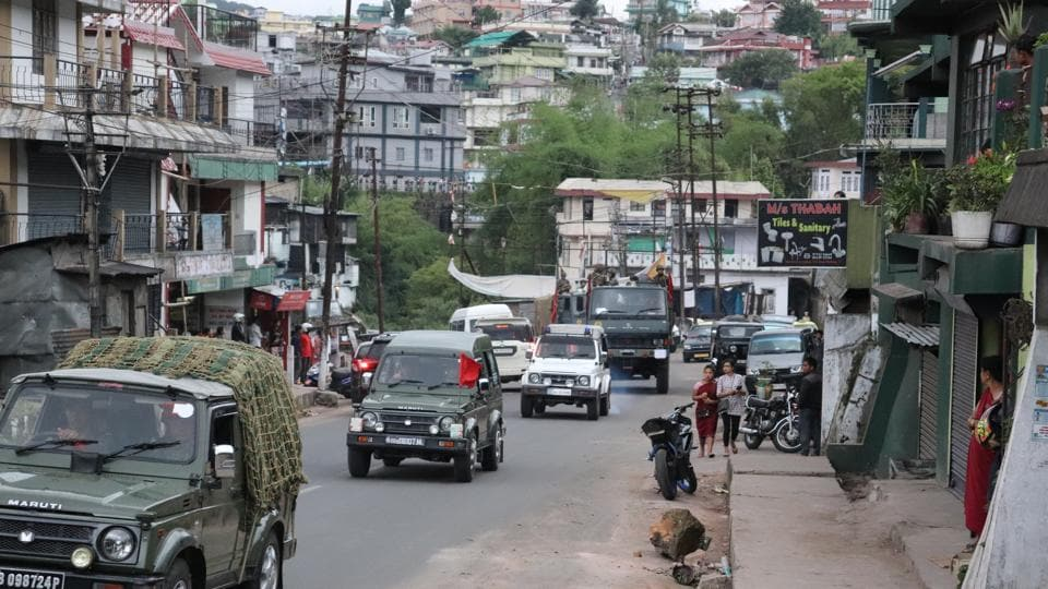 Army conducts a flag march in Meghalaya capital  Shillong on Monday evening.