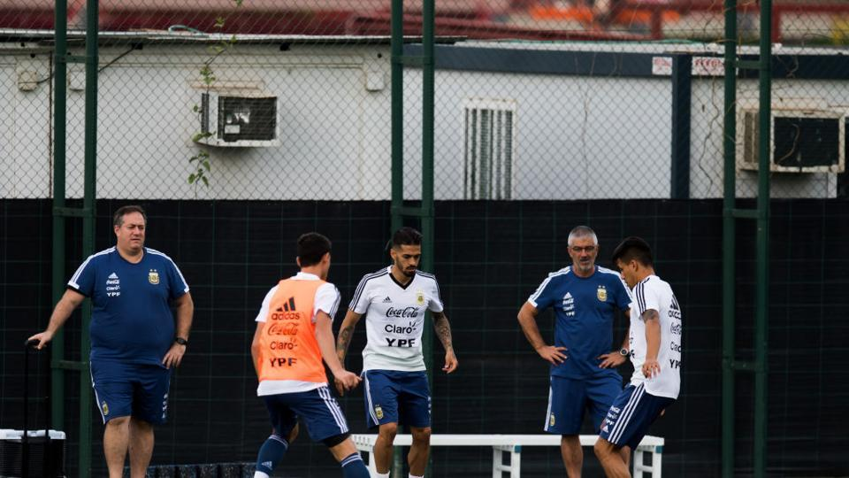 Argentina players take part in a training session as part of the team preparation for FIFA World Cup Russia 2018 at FC Barcelona 'Joan Gamper' sports centre on June 6, 2018 in Barcelona, Spain. (Getty Images)
