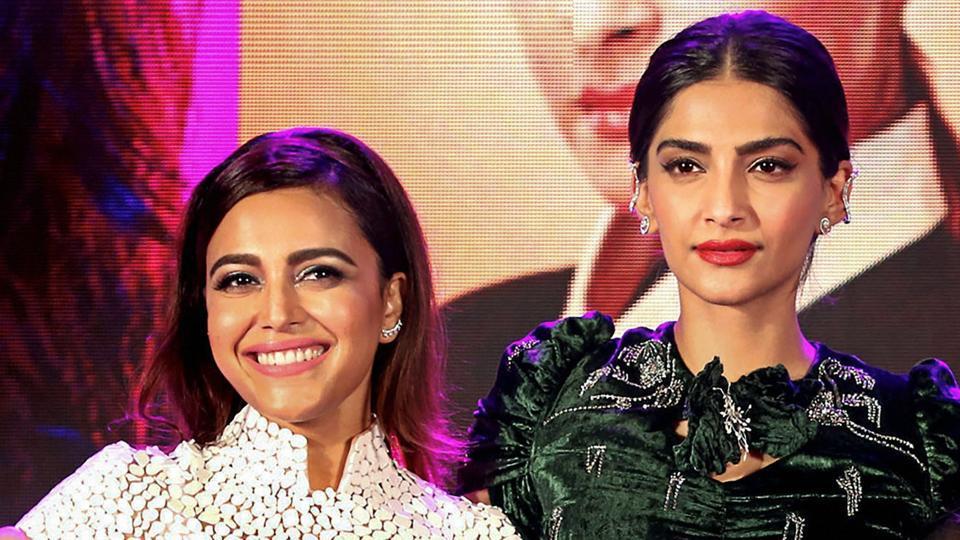 Sonam Kapoor and Swara Bhaskar during the music launch of their film Veere Di Wedding, in Mumbai.
