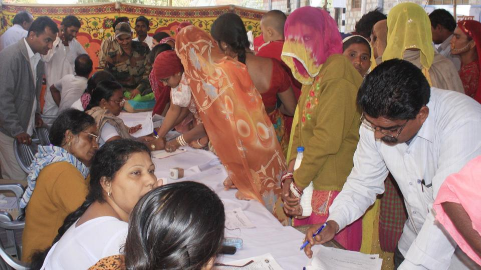 People at a family planning camp in Rajasthan.