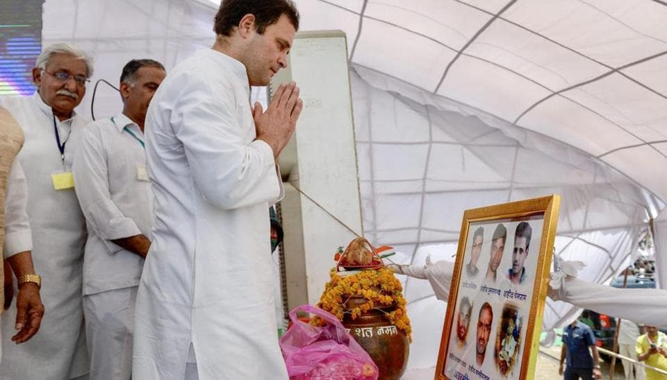 Congress president Rahul Gandhi pays tributes to the victims of police firing during 2017 farmers' agitation, in Mandsaur.