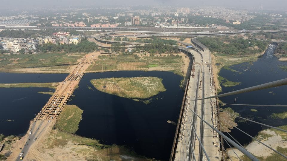 An aerial view of the Signature Bridge at Wazirabad in New Delhi, on May 29, 2018. The bridge is expected to reduce travel time by half an hour for people going to Ghaziabad via Khajuri Khas, Yamuna Vihar from Wazirabad, Timarpur, Mukherjee Nagar and Burari.