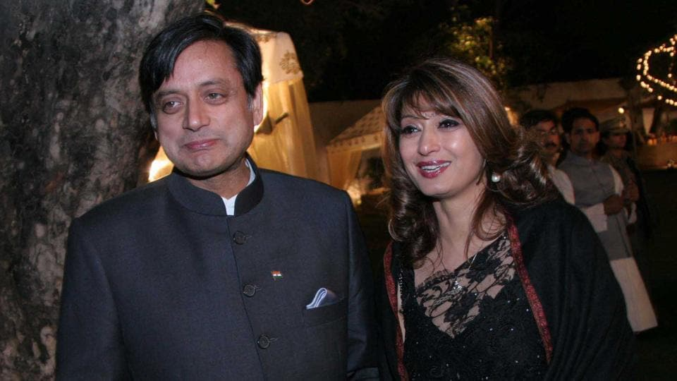 Shashi Tharoor with his late wife Sunanda Pushkar at a wedding reception in February  2010 in New Delhi. Pushkar was found dead at a seven-star hotel where the couple had checked in together a day earlier.