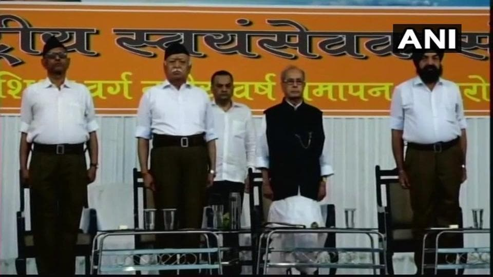 Former President Pranab Mukherjee (right) with RSS chief Mohan Bhagwat in Nagpur at the RSS's Tritiya Varsha event.