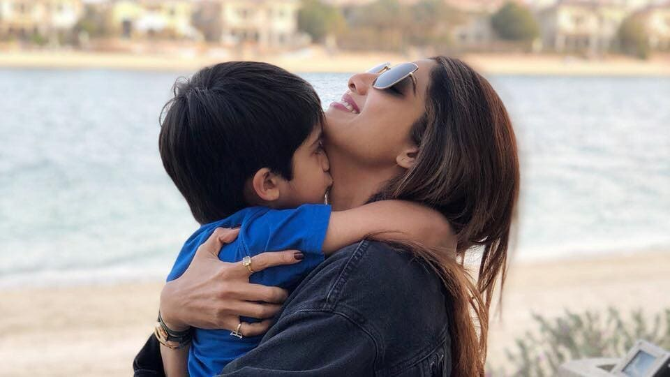 Shilpa Shetty's loves clicking pics with Kiaan.