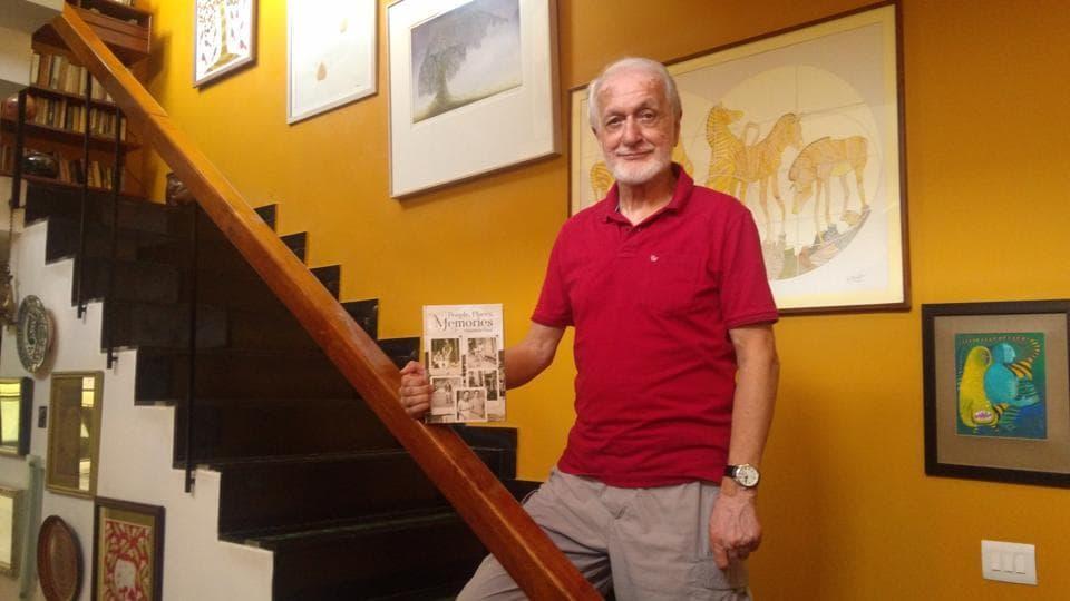 Maheshwar Dayal with his book at his Chandigarh home.
