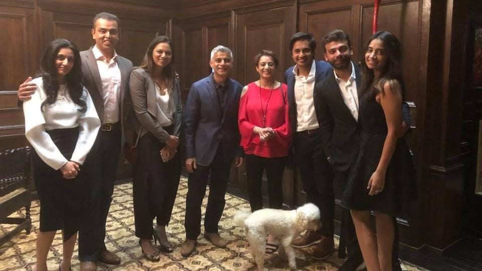 The Deoras, Khans, Mittals and Bhatias at the dinner hosted by Aditya Mittal in London.