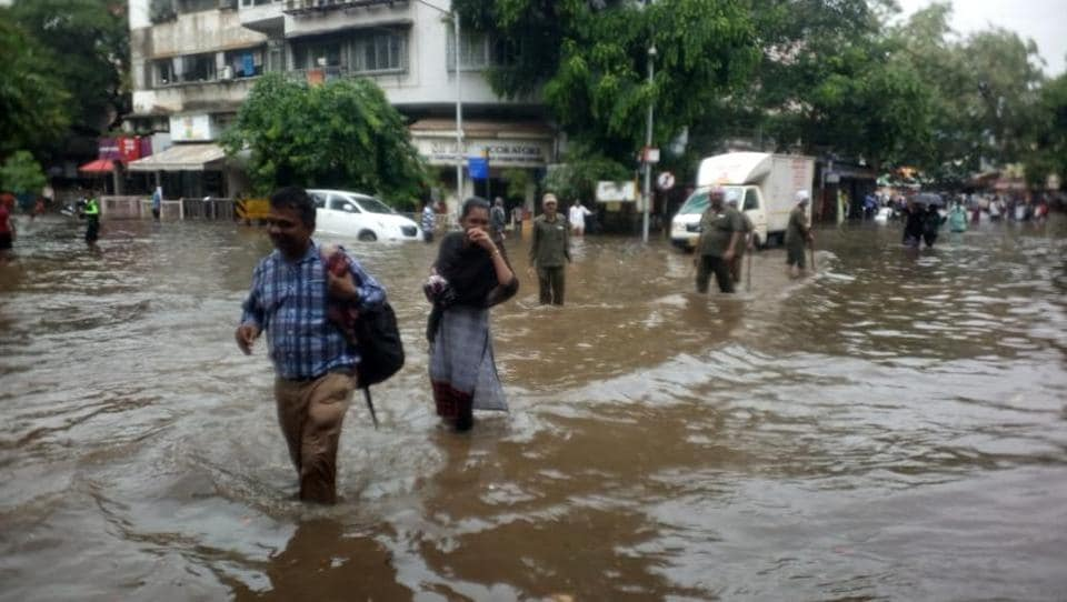 Road flooded in Sion, Mumbai on June 7, 2018.