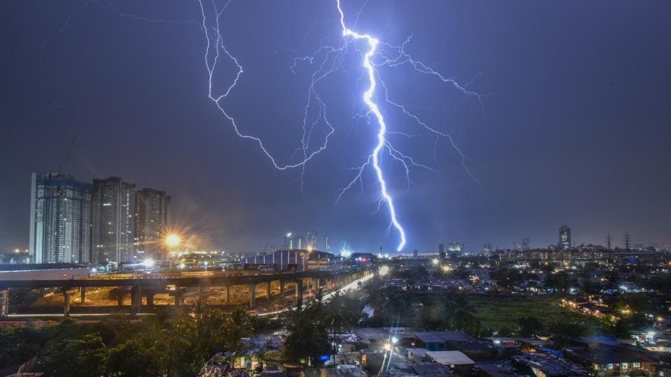 Strong lightening hits the skyline followed by heavy rain in Mumbai, Maharashtra, on June 04, 2018. (Kunal Patil / HT Photo)