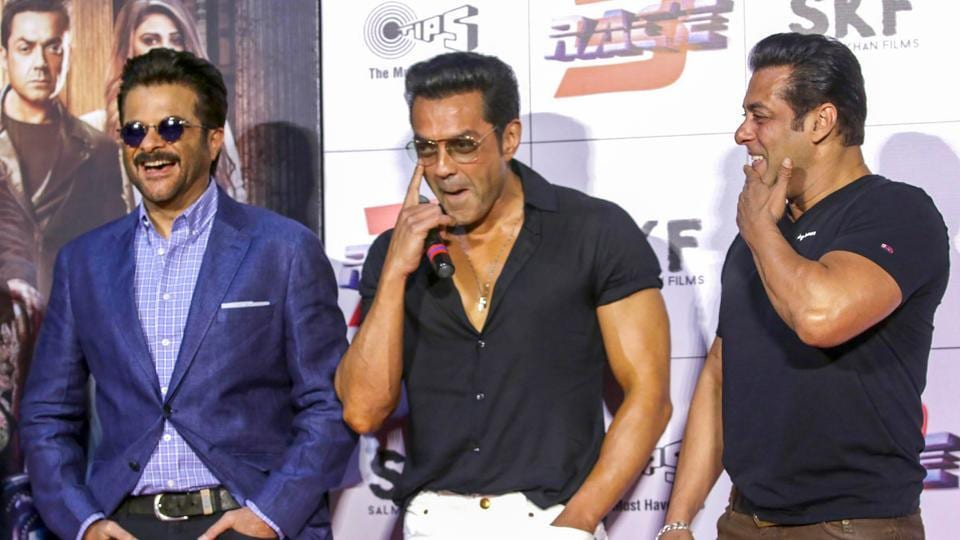 Bobby Deol, Anil Kapoor and Salman Khan at the trailer launch of Race 3.
