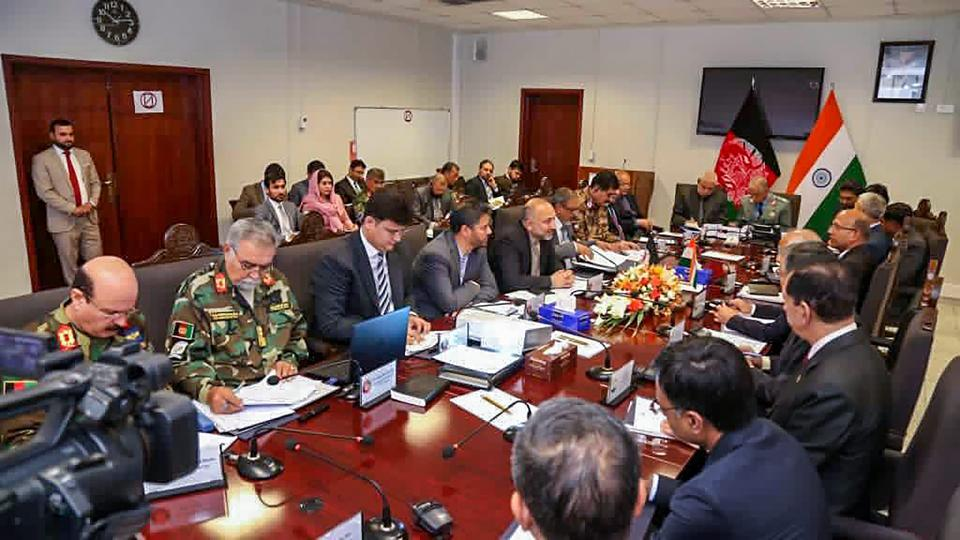 Deputy National Security Advisor of India Rajinder Khanna with ministry officials and Afghan National Security Advisor Hanif Atmar during India-Afghan security meet, in Kabul on May 30.