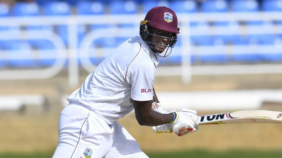 Jason Holder of West Indies hits 4 during day 1 of the 1st Test between West Indies and Sri Lanka at Queen's Park Oval, Port of Spain, Trinidad, on June 6, 2018.