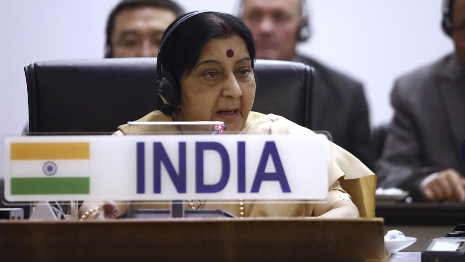 "The world looks up to India and South Africa for providing leadership, external affairs minister Sushma Swaraj said as she recalled the role of iconic leaders Mahatma Gandhi and Nelson Mandela in giving hope to those facing injustice and discrimination. ""The world is a better place because of us. The world has much to gain from us. The world looks up to us to provide leadership."" she asserted. (AFP File)"