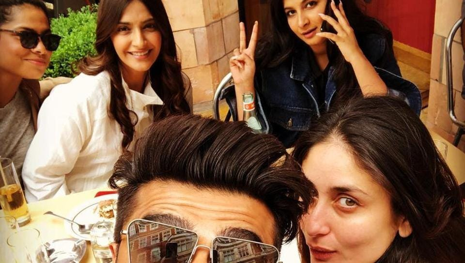 Sonam Kapoor, Rhea Kapoor, Kareena Kapoor and Arjun Kapoor met in London for a lunch.
