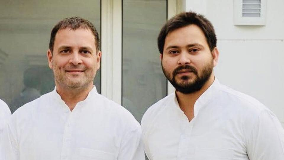 RJDleader Tejashwi Prasad Yadav called on Congress president Rahul Gandhi at the latter's residence in New Delhi on Thursday.