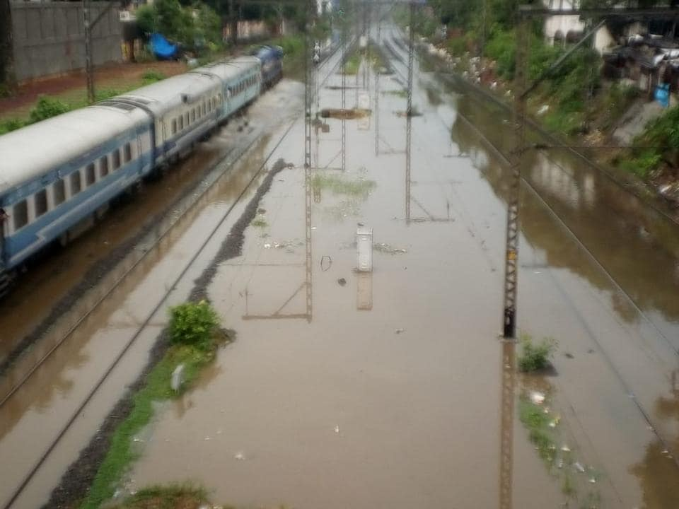 Water-logging on railway tracks between Sion and Matunga stations on Thursday.