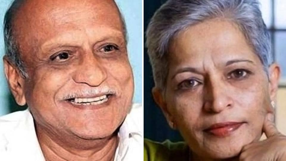 MM Kalburgi (left) was shot dead in his house on August 30, 2015 in Dharwad and 55-year old Lankesh on September 5, 2017 in Bengaluru.