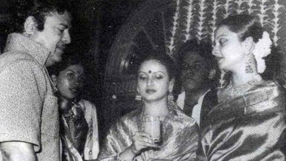 Gemini Ganesan with his daughter Rekha.