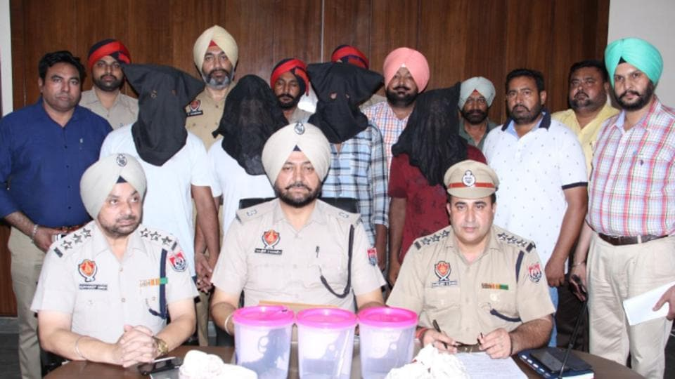 Moga police officials during a press conference on Friday.