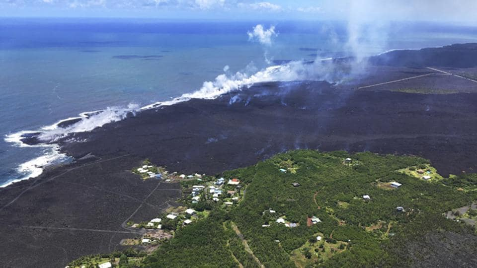 Remains of the Kapoho Beach Lots subdivision and a fissure flow front at the town of Kapoho on the island of Hawaii.