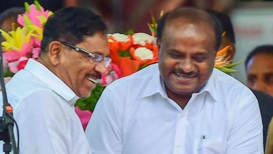 Karnataka Chief Minister HD Kumaraswamy with Deputy Chief Minister G Parameshwara .