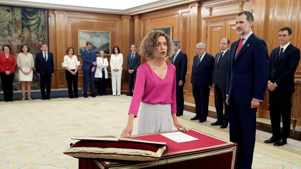 On a day-to-day basis, Meritxell Batet, another Catalan, has been put in charge of relations with Spain's regions as the minister of territorial administration. As such, she will have the prickly task of trying to ease the situation in her own deeply divided home region. (J. J. Soriano / Pool / AFP)
