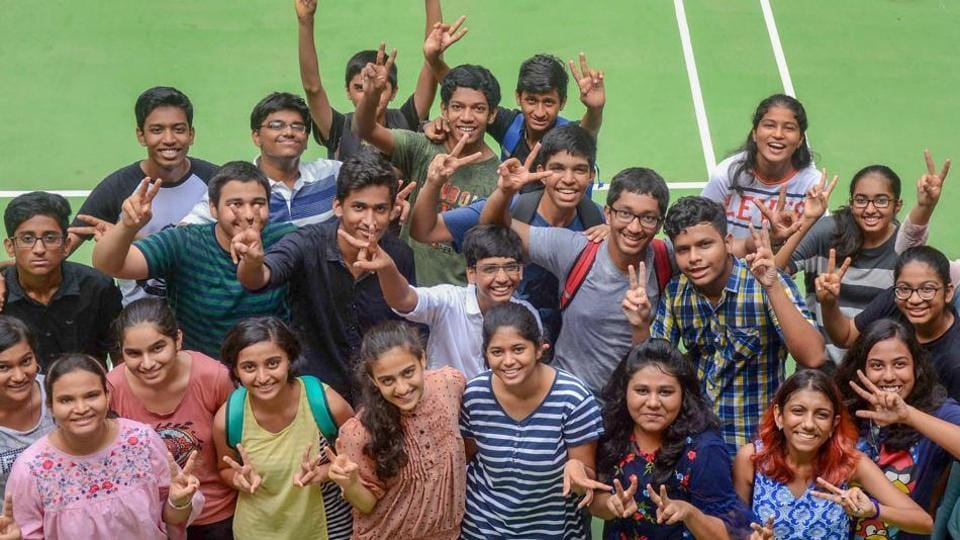 Students of Fr. Agnels school, Vashi celebrate after Maharashtra State Board of Secondary and Higher Secondary Education declared Secondary School Certificate (SSC) class 10th results on Friday.