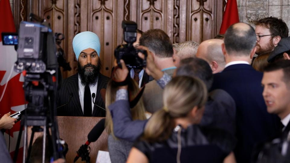 New Democratic Party leader Jagmeet Singh speaks to the media following the tabling of the budget in the House of Commons on Parliament Hill in Ottawa, Ontario, Canada, February 27, 2018.