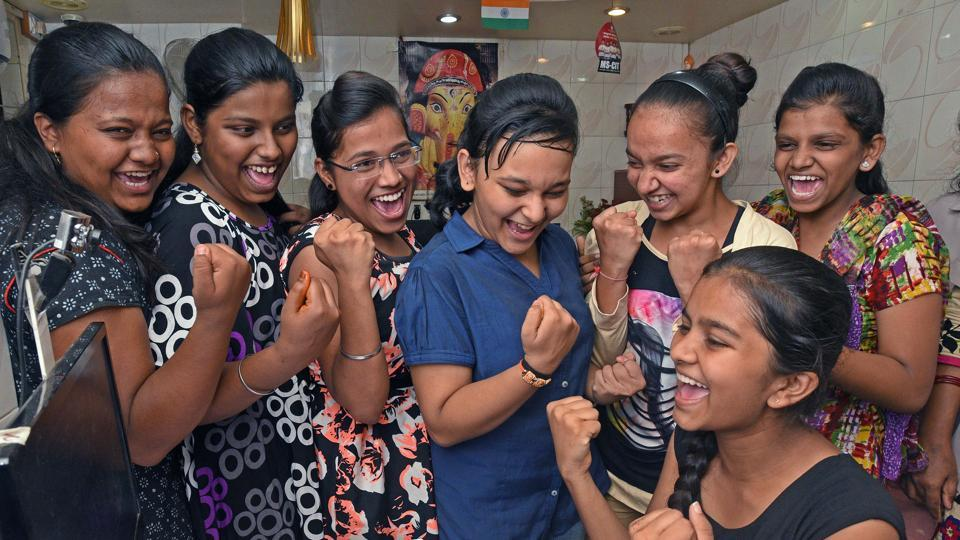 Students of a private coaching class in Pune celebrate their success after the SSC results were declared on Friday. Girl students outscored boys by a 91.97% to 87.27%.  (Pratham Gokhale/HT Photo)