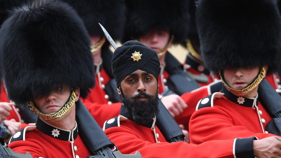 Trooping the colour,Sikh soldier,Charanpreet Singh Lall