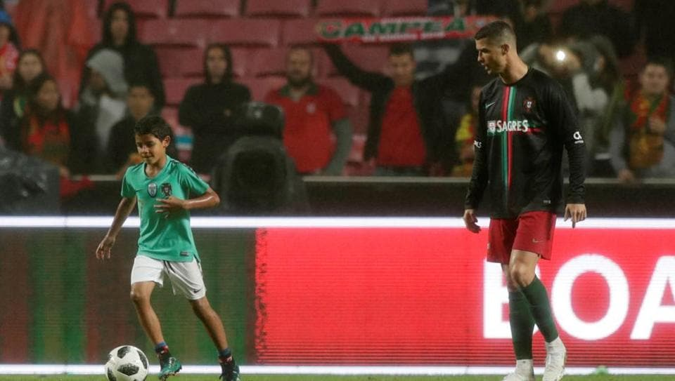 Cristiano Ronaldo's son Cristianinho received some of the biggest cheers of the night from theEstadio da Luz crowd