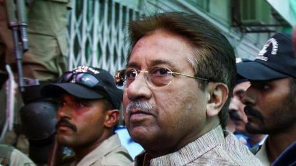 Pakistan's former President and military ruler Pervez Musharraf arrives at an anti-terrorism court in Islamabad, Pakistan.