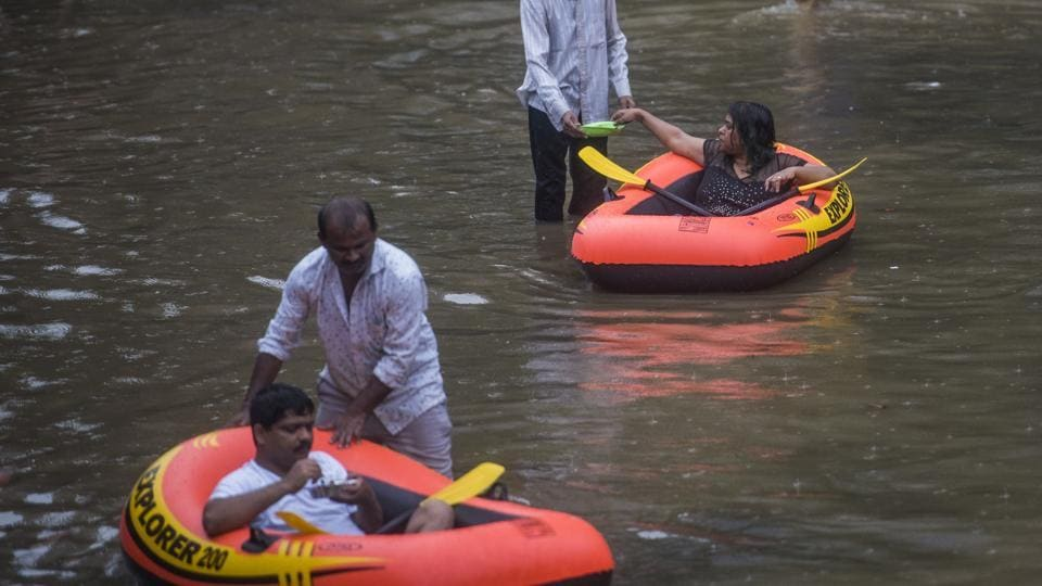 There were at least two incidents of building crashes in Mumbai as waterlogging was reported from several parts in Mumbai.
