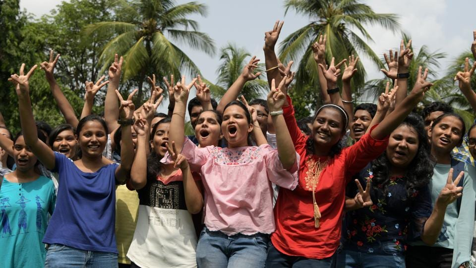 Students of Fr Agnel Multipurpose School and Junior College in Vashi on Friday.