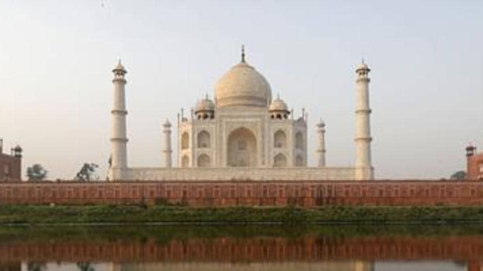The Taj Mahal pictured from across the Yamuna river in Agra on May 20.