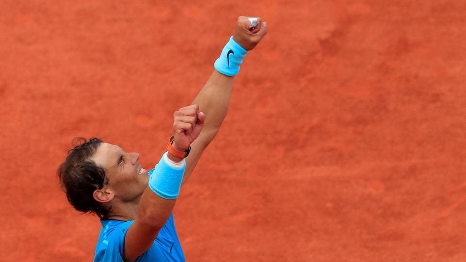 Spain's Rafael Nadal celebrates after winning the French Open final against Austria's Dominic Thiem